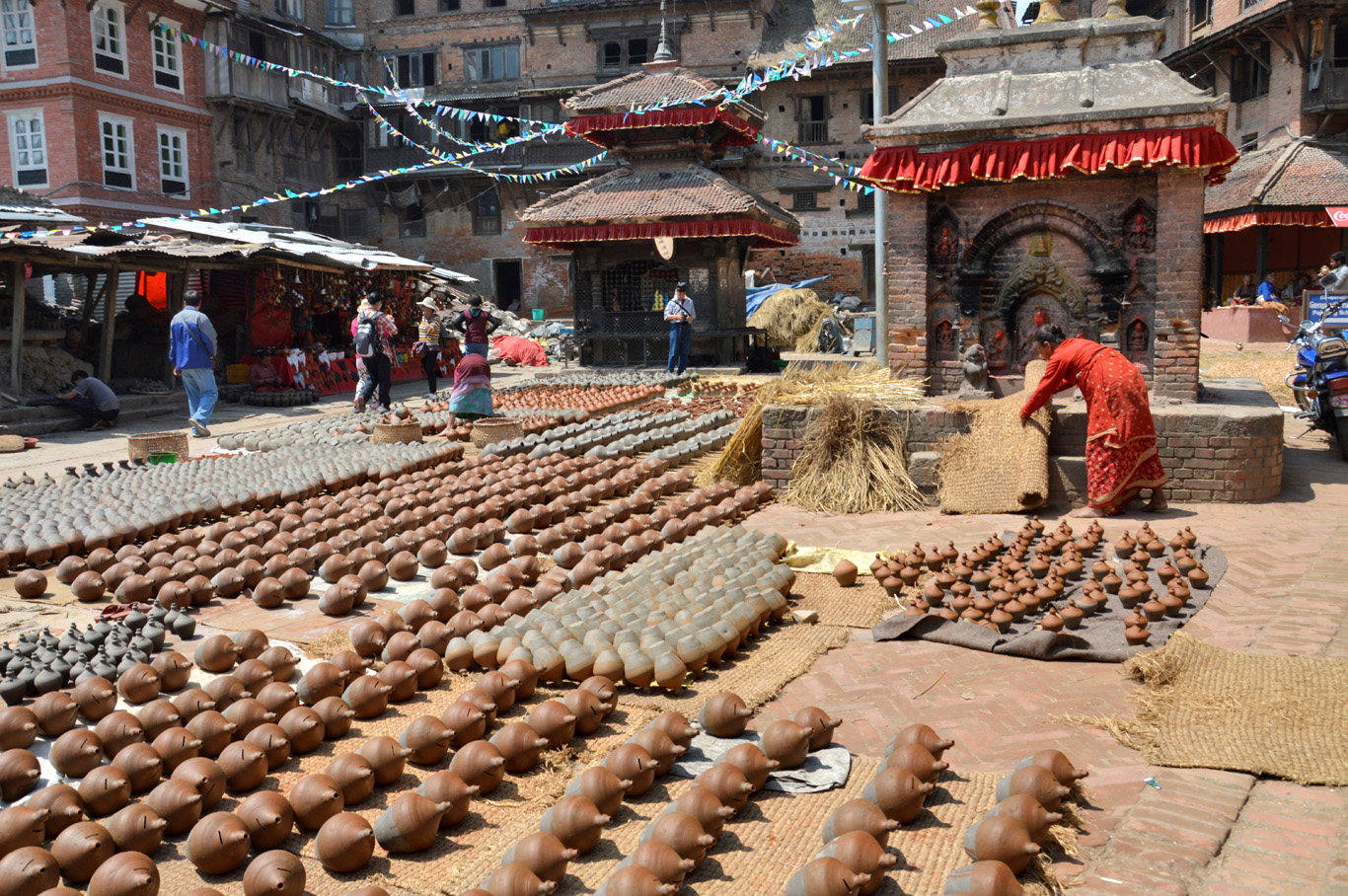 Pottery Square of Bhaktapur; the ground of clay arts image