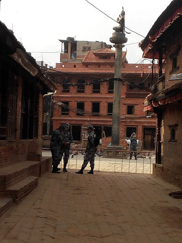 Armed police force of nepal on duty during Lockdown image