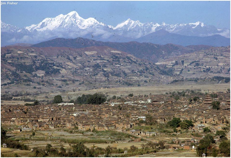 Bhaktapur city (eight miles east of Kathmandu) and Jugal Mountain range in 1962 image