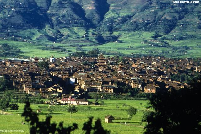 Bhaktapur surrounded by rice fields in the 1950s image