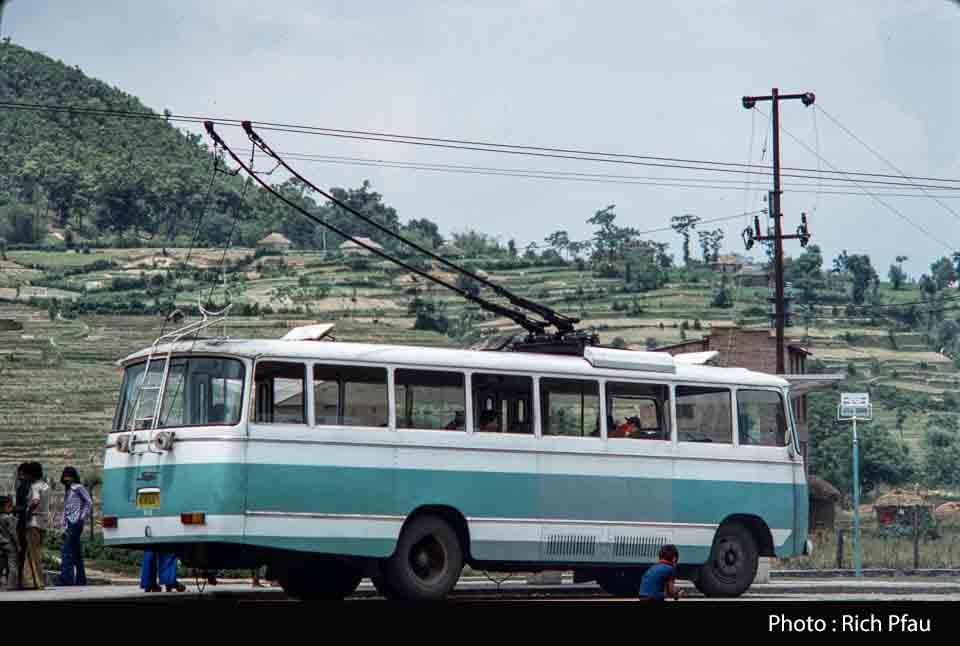 Chinese trolly bus near Bhaktapur city Araniko Highway image