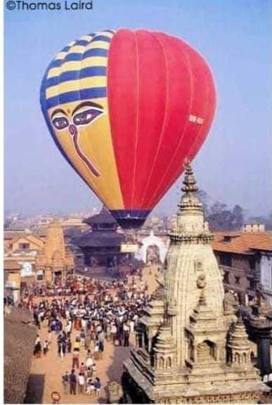 Hot air balloon over Bhaktapur Durbar Sq in 1993 AD image