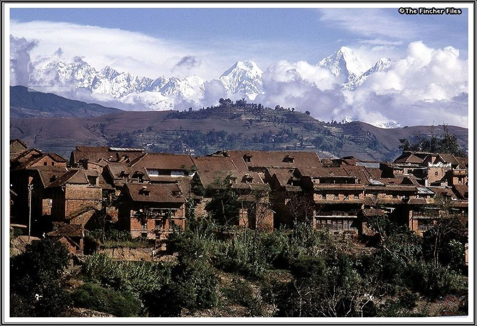 Landscape scene of Bhaktapur town with the Himalayas behind image