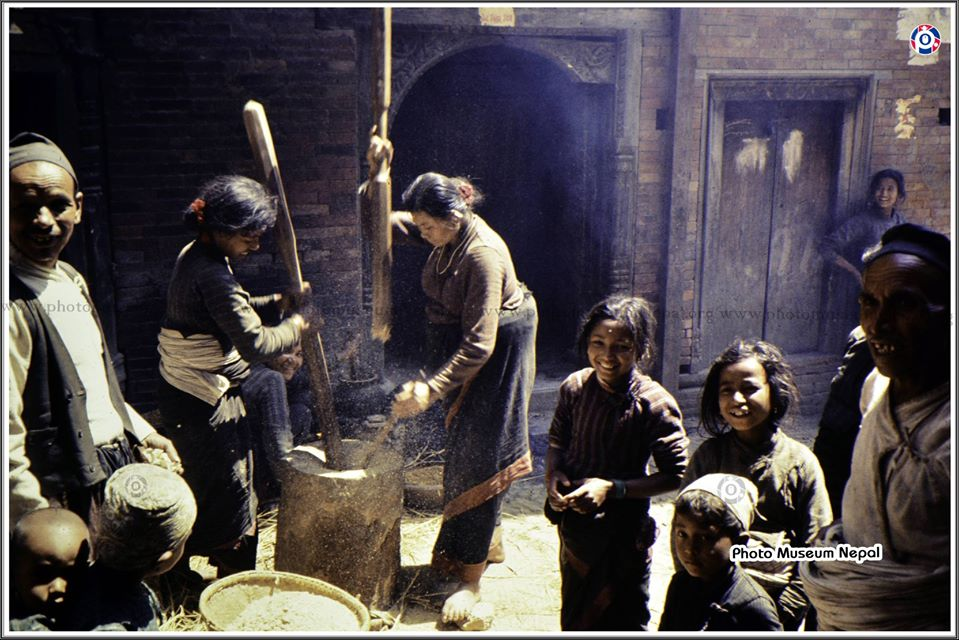Newar women pounding grain with large wooden pestles in Bhaktapur in 1971 AD Photo by John Hughes image