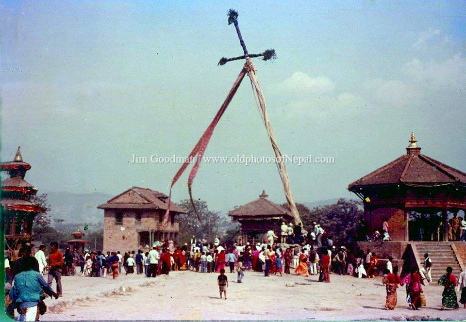Pole erecting ceremony of Bisket Jatra image