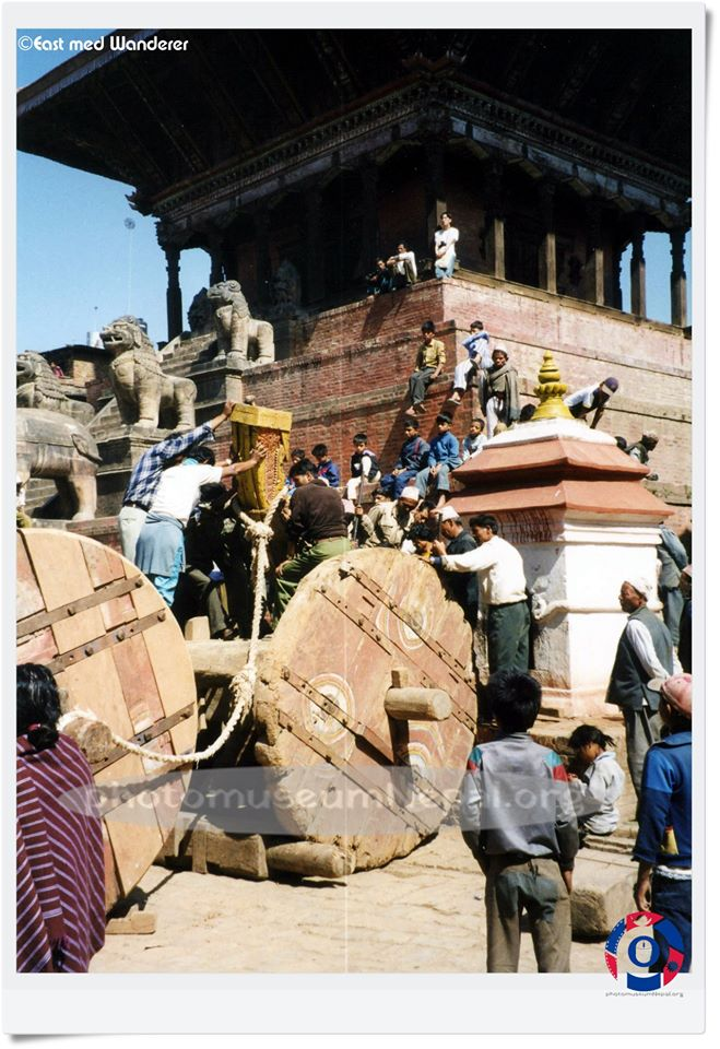 Preparation of the chariot for Bisket Jatra, late 90 image