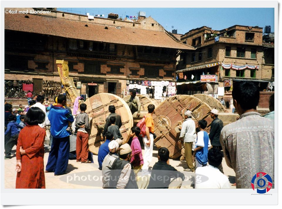 Preparation of the chariot for Bisket Jatra, late 90s image
