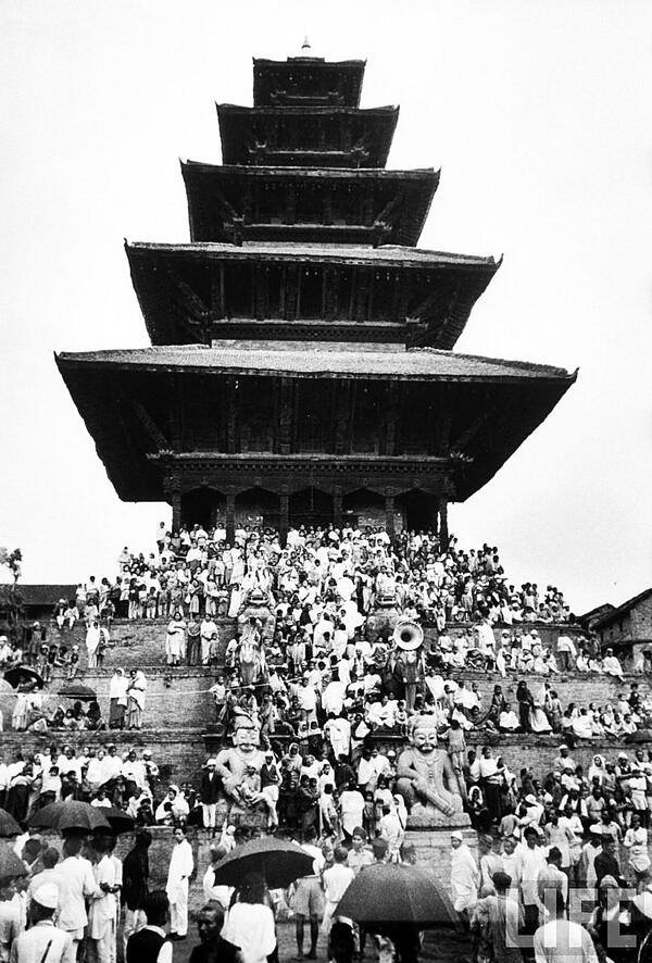 The Mt. #Everest expedition team being welcomed at the Nyatpole temple, Bhaktapur in 1953 image