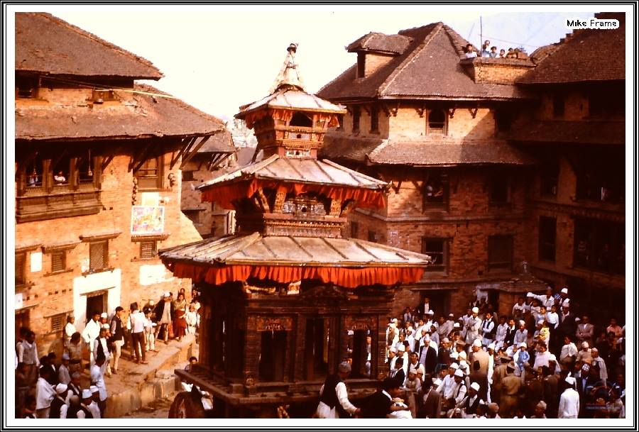 The chariot for Bisket Jatra begins to move in Bhaktapur, 1963 image