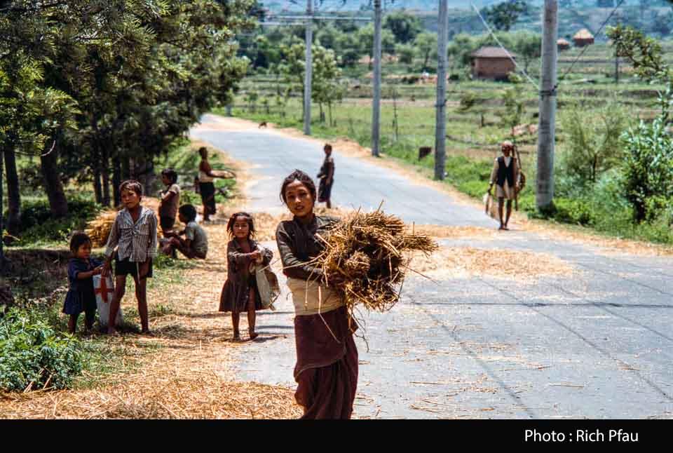 Woman and children threshing grain on road near Bhaktapur image
