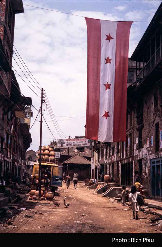 political party flag and pottery truck loading at Madhyapur Thimi during 1991 image