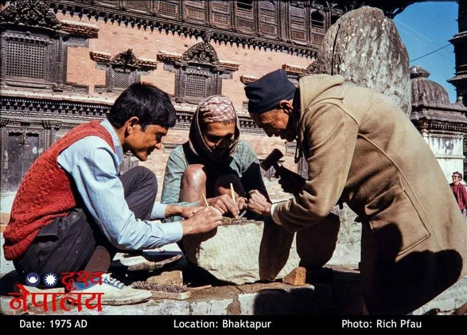 Men Carving Stone in Durbar Square image