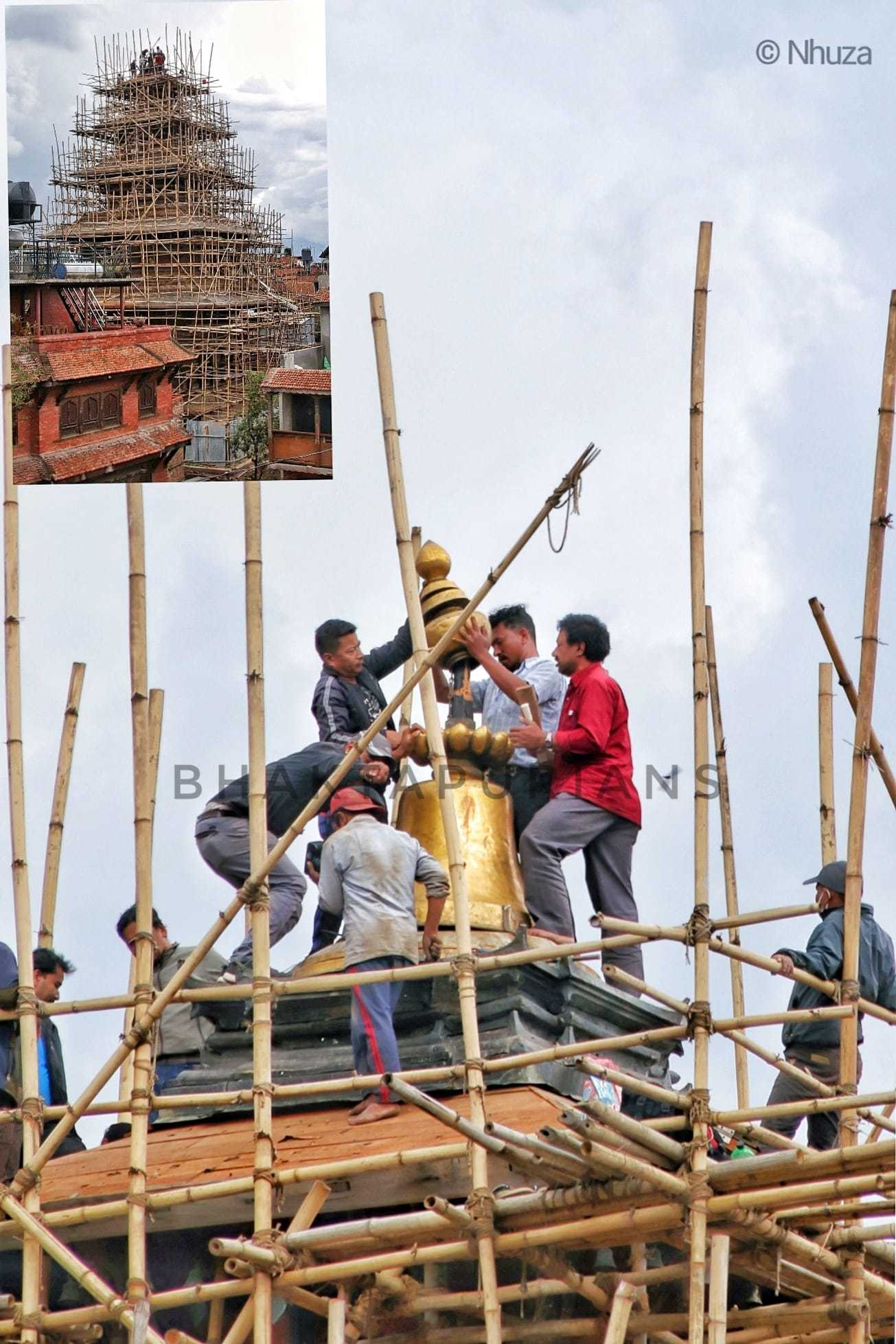 Installing tallest gajur to the tallest temple of Nepal image
