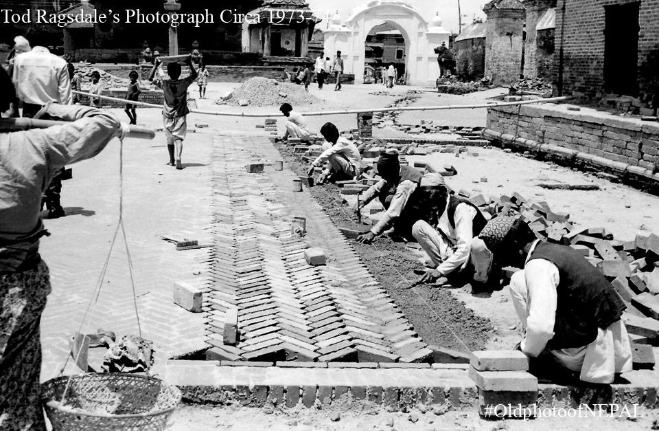 Workers paving bricks infront Khwopa Laaykoo(Bhaktapur Durbar Square) in 1973 image