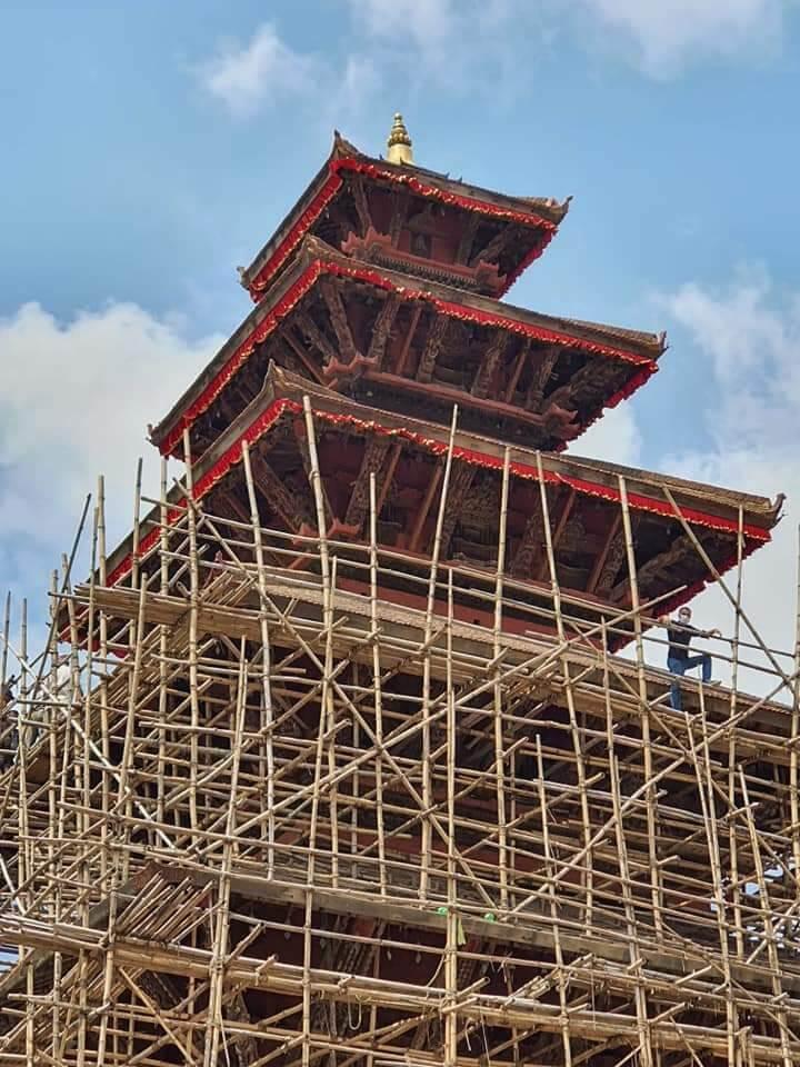 Nyatapola temple during renovation