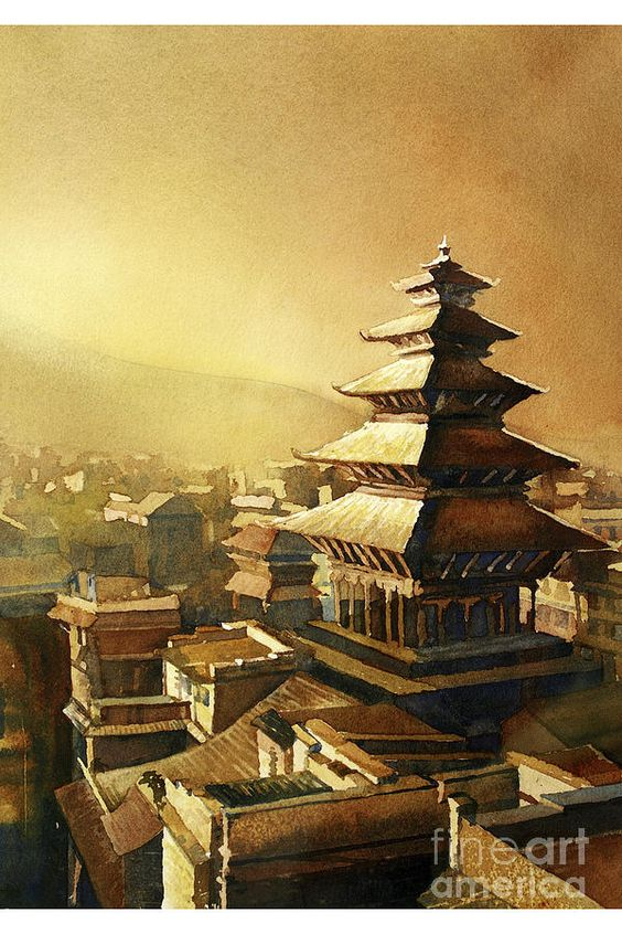 Painting – Nyatapola Temple- Nepal by Ryan Fox image