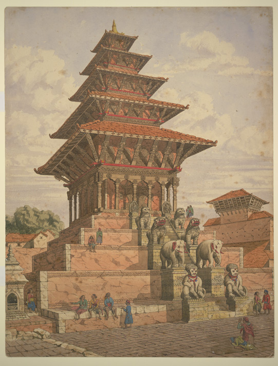 Watercolour of the Nyatapola Temple at Bhaktapur in Nepal, dated c.1854. image