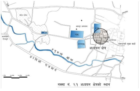 भक्तपुर शहरको उत्तर मल्लकालका विस्तारित स्थानहरू image